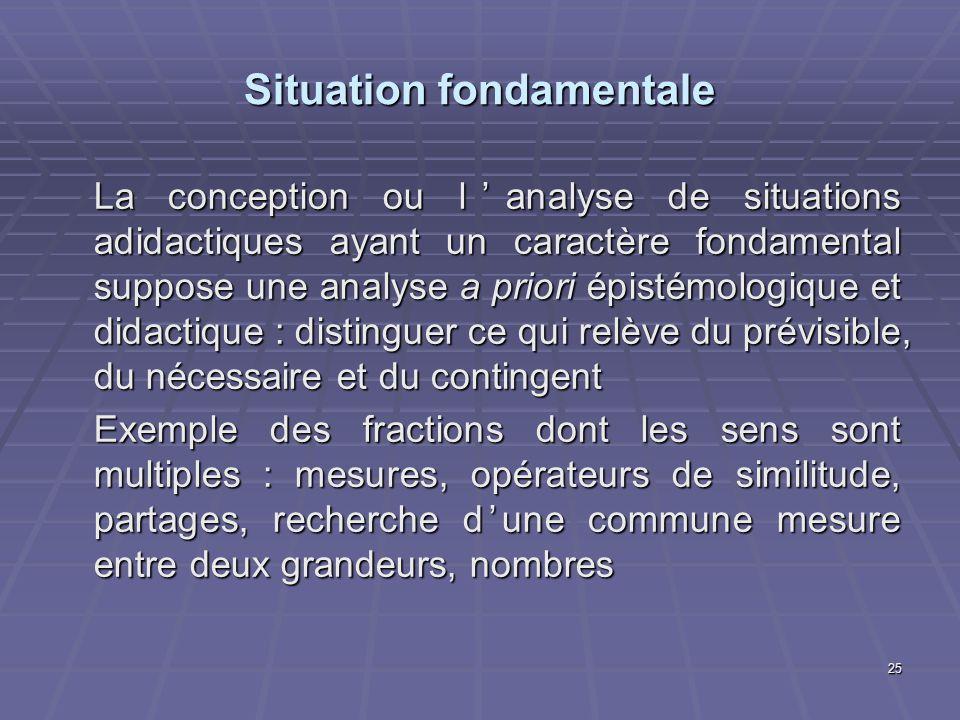 25 Situation fondamentale La conception ou lanalyse de situations adidactiques ayant un caractère fondamental suppose une analyse a priori épistémolog