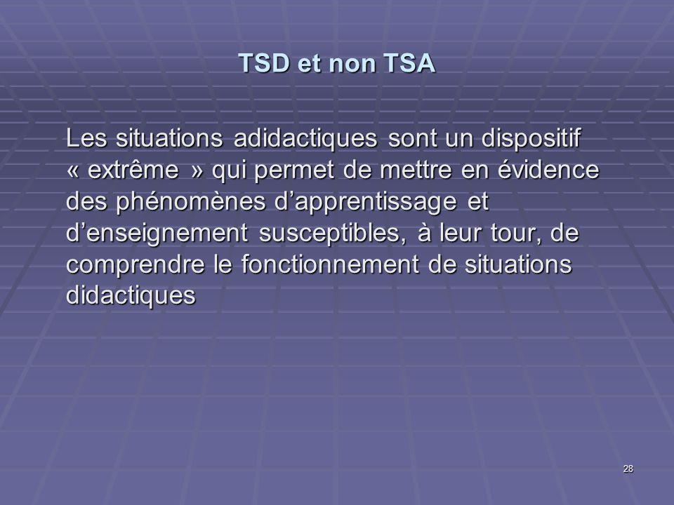 28 TSD et non TSA Les situations adidactiques sont un dispositif « extrême » qui permet de mettre en évidence des phénomènes dapprentissage et denseig
