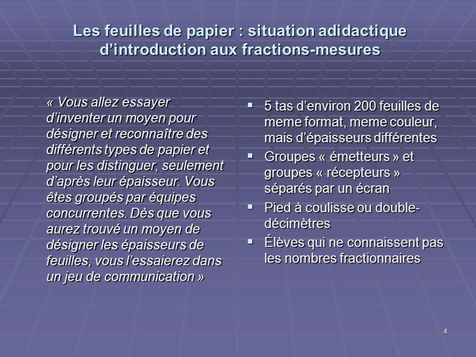 4 Les feuilles de papier : situation adidactique dintroduction aux fractions-mesures « Vous allez essayer dinventer un moyen pour désigner et reconnaî