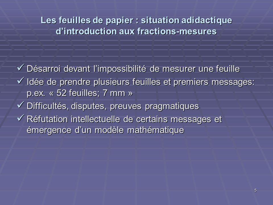 5 Les feuilles de papier : situation adidactique dintroduction aux fractions-mesures Désarroi devant limpossibilité de mesurer une feuille Désarroi de