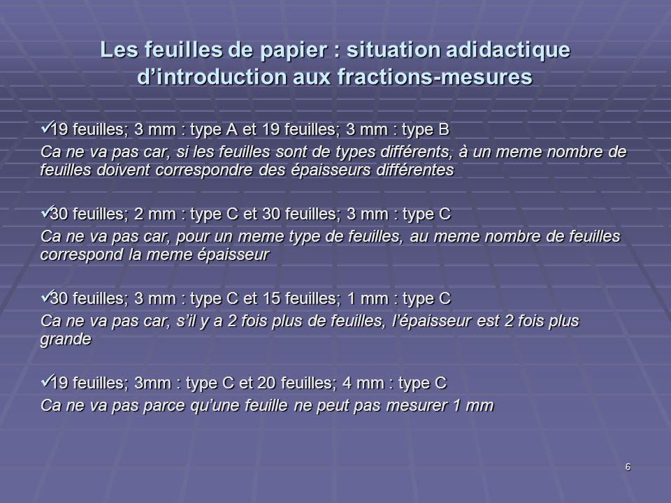 6 Les feuilles de papier : situation adidactique dintroduction aux fractions-mesures 19 feuilles; 3 mm : type A et 19 feuilles; 3 mm : type B 19 feuil