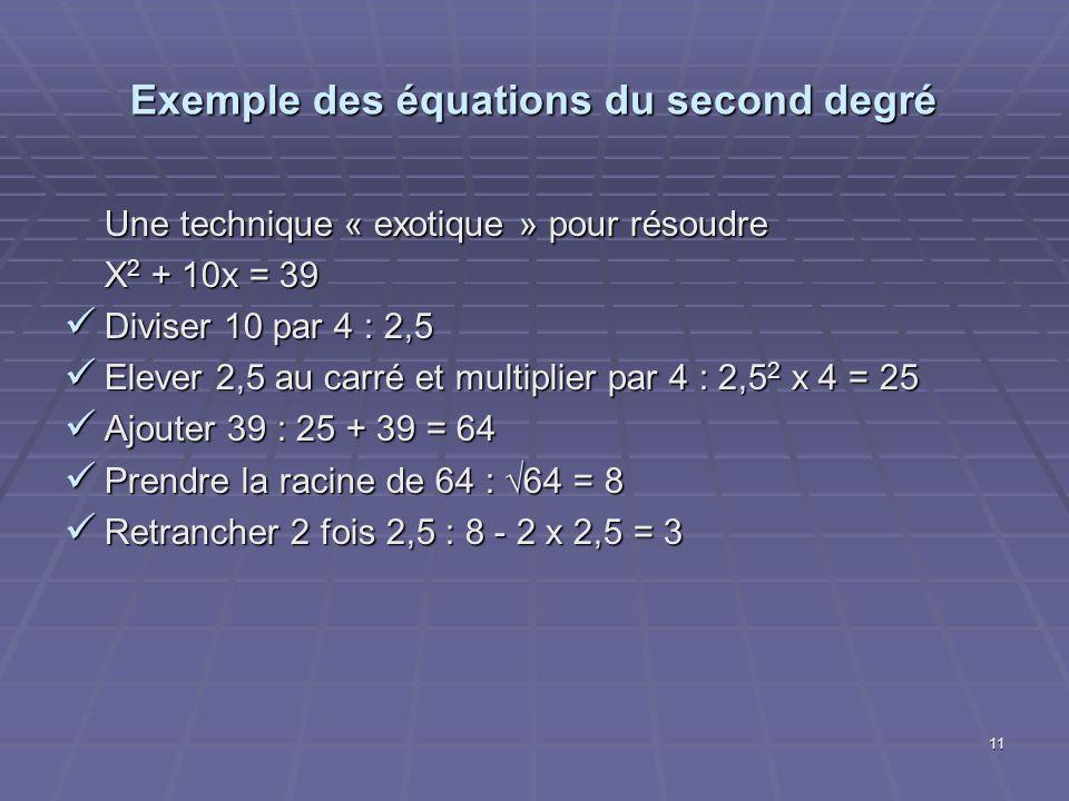11 Exemple des équations du second degré Une technique « exotique » pour résoudre X 2 + 10x = 39 Diviser 10 par 4 : 2,5 Diviser 10 par 4 : 2,5 Elever
