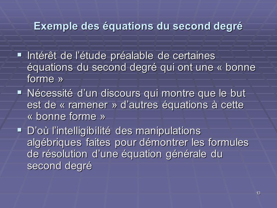 13 Exemple des équations du second degré Intérêt de létude préalable de certaines équations du second degré qui ont une « bonne forme » Intérêt de lét