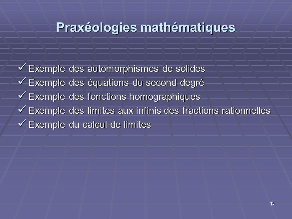 15 Praxéologies mathématiques Exemple des automorphismes de solides Exemple des automorphismes de solides Exemple des équations du second degré Exempl