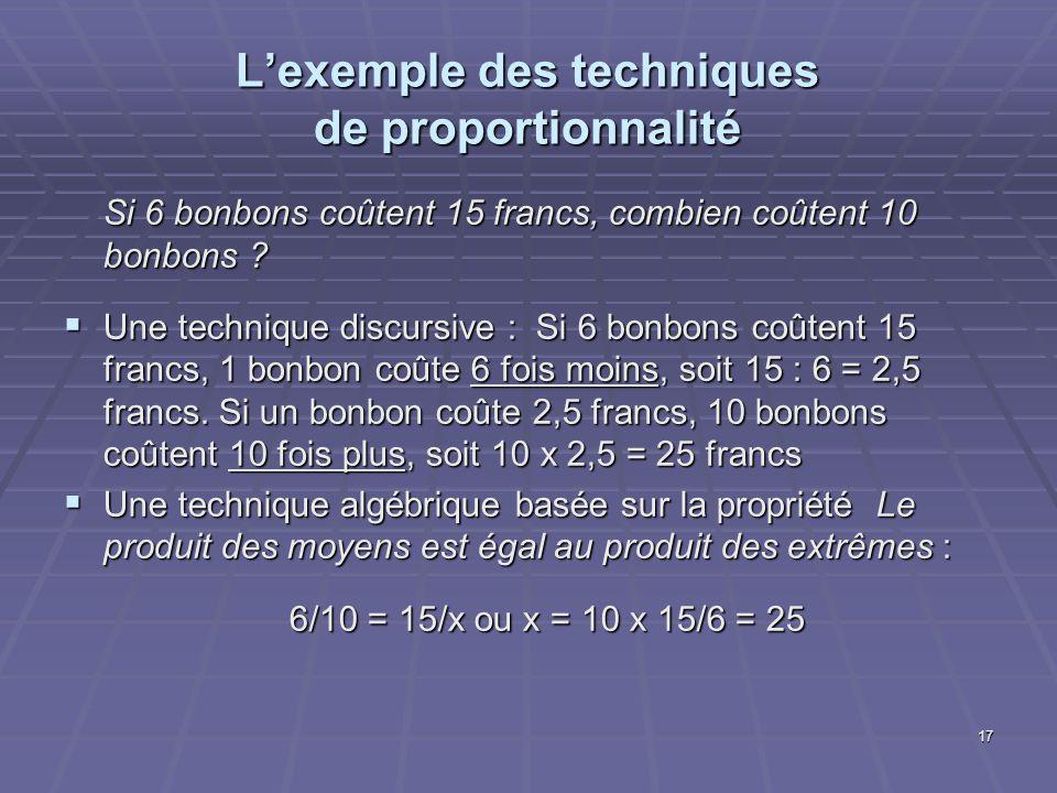17 Lexemple des techniques de proportionnalité Si 6 bonbons coûtent 15 francs, combien coûtent 10 bonbons ? Une technique discursive : Si 6 bonbons co