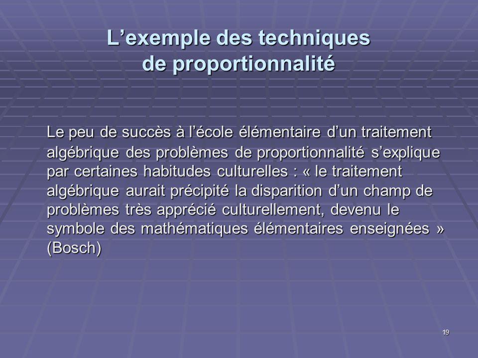 19 Lexemple des techniques de proportionnalité Le peu de succès à lécole élémentaire dun traitement algébrique des problèmes de proportionnalité sexpl