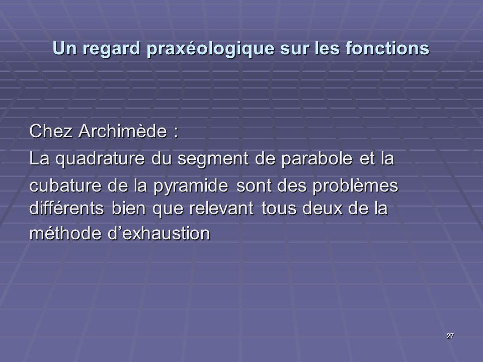 27 Un regard praxéologique sur les fonctions Chez Archimède : La quadrature du segment de parabole et la cubature de la pyramide sont des problèmes di