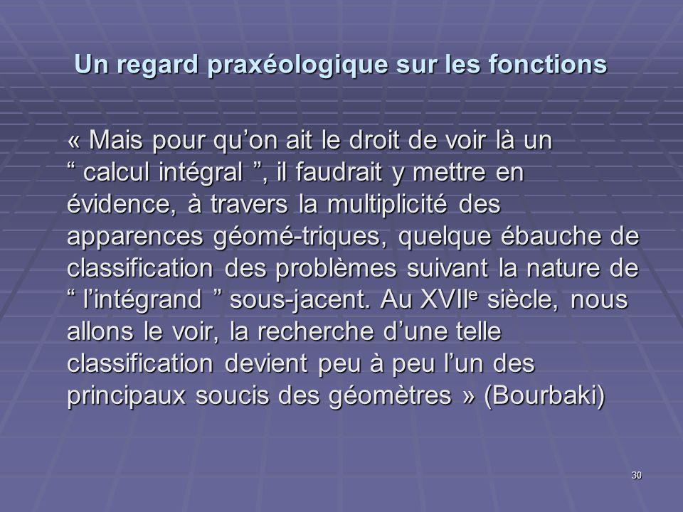 30 Un regard praxéologique sur les fonctions « Mais pour quon ait le droit de voir là un calcul intégral, il faudrait y mettre en évidence, à travers