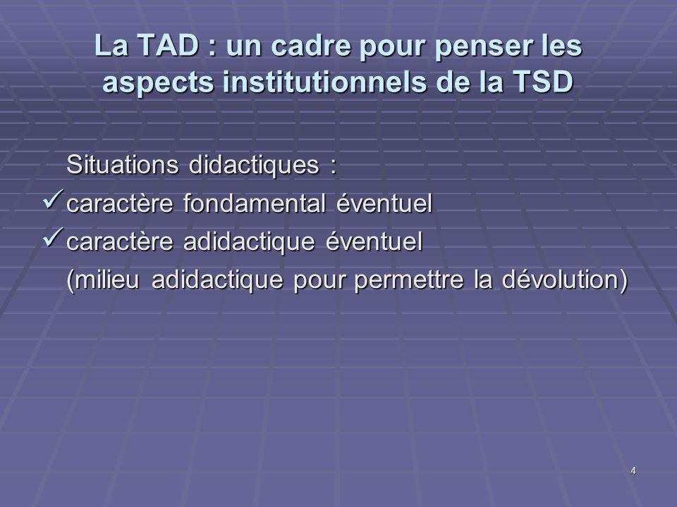 4 La TAD : un cadre pour penser les aspects institutionnels de la TSD Situations didactiques : caractère fondamental éventuel caractère fondamental év