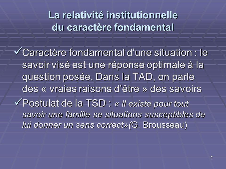 5 La relativité institutionnelle du caractère fondamental Caractère fondamental dune situation : le savoir visé est une réponse optimale à la question