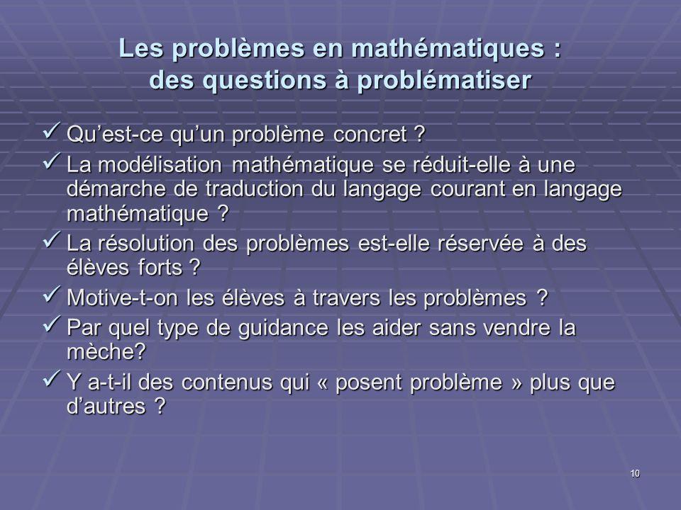 10 Les problèmes en mathématiques : des questions à problématiser Quest-ce quun problème concret ? Quest-ce quun problème concret ? La modélisation ma