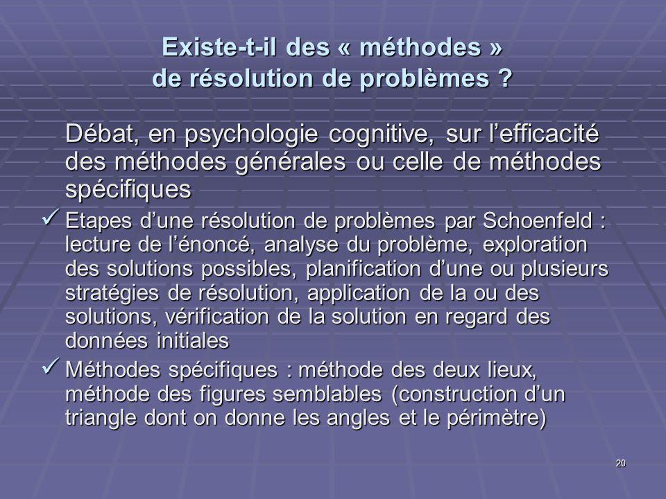 20 Existe-t-il des « méthodes » de résolution de problèmes ? Débat, en psychologie cognitive, sur lefficacité des méthodes générales ou celle de métho