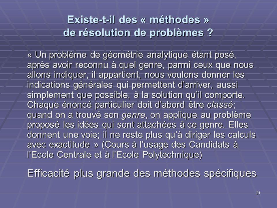 21 Existe-t-il des « méthodes » de résolution de problèmes ? « Un problème de géométrie analytique étant posé, après avoir reconnu à quel genre, parmi