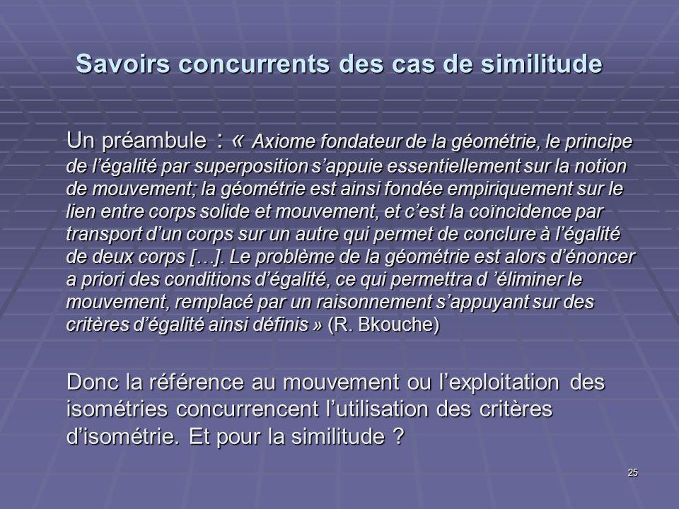 25 Savoirs concurrents des cas de similitude Un préambule : « Axiome fondateur de la géométrie, le principe de légalité par superposition sappuie esse