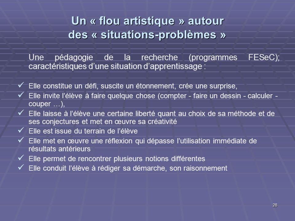 28 Un « flou artistique » autour des « situations-problèmes » Une pédagogie de la recherche (programmes FESeC); caractéristiques dune situation dappre