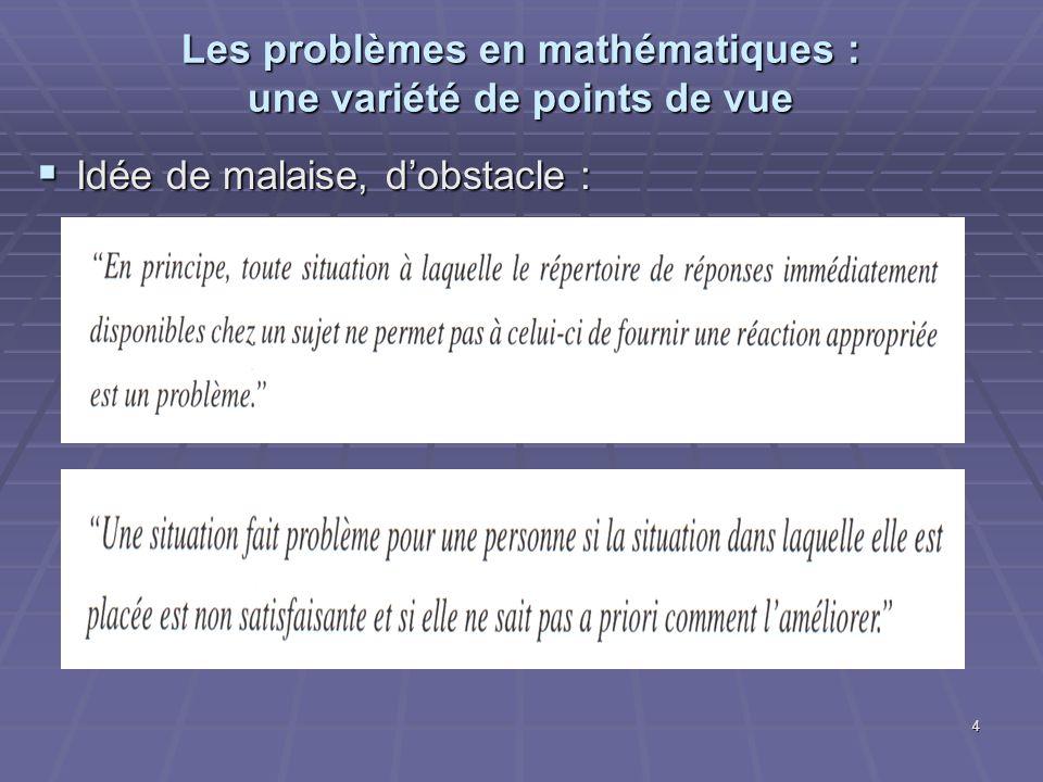 4 Les problèmes en mathématiques : une variété de points de vue Idée de malaise, dobstacle : Idée de malaise, dobstacle :