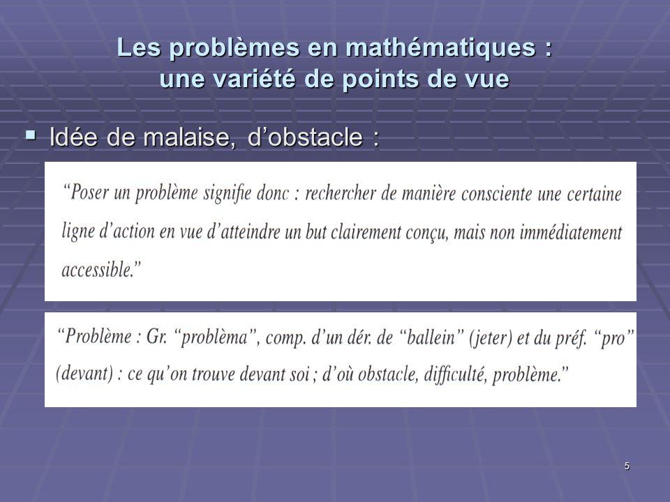 5 Les problèmes en mathématiques : une variété de points de vue Idée de malaise, dobstacle : Idée de malaise, dobstacle :