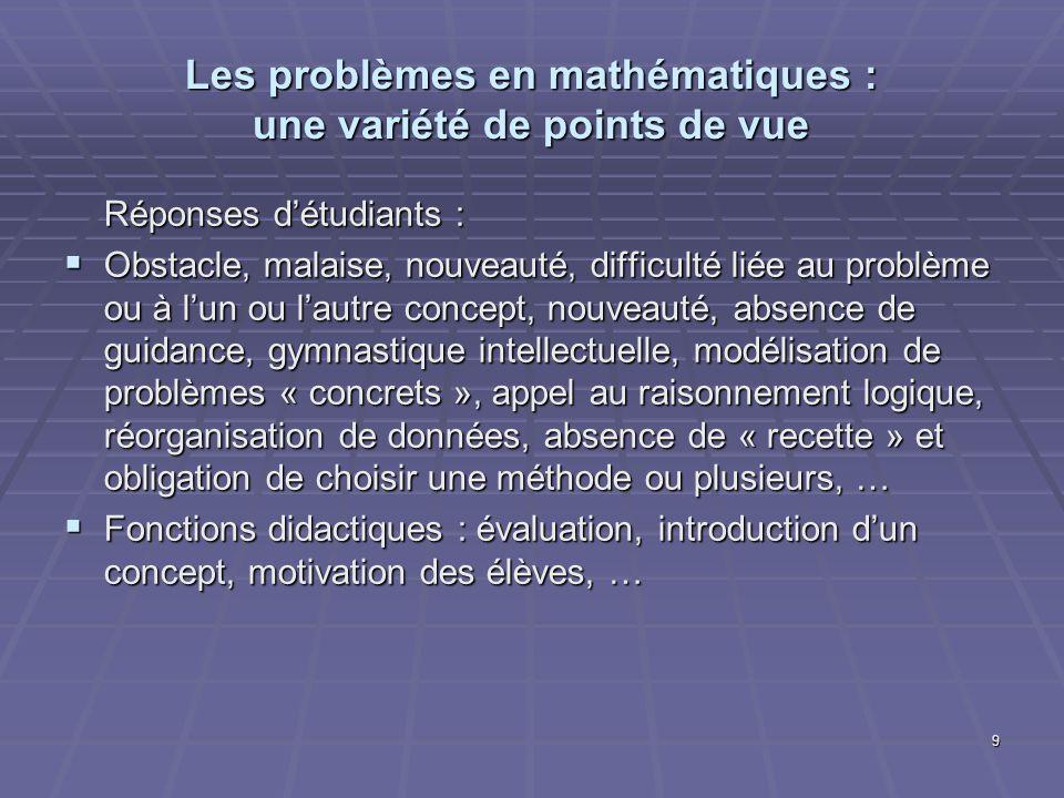 9 Les problèmes en mathématiques : une variété de points de vue Réponses détudiants : Obstacle, malaise, nouveauté, difficulté liée au problème ou à l
