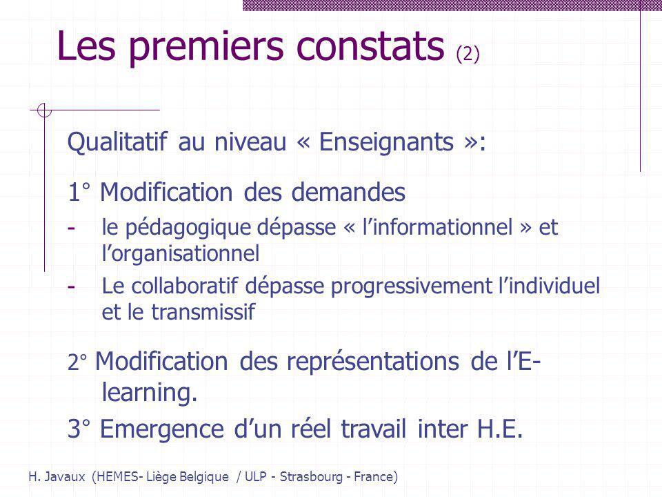 H. Javaux (HEMES- Liège Belgique / ULP - Strasbourg - France) Les premiers constats (2) Qualitatif au niveau « Enseignants »: 1° Modification des dema
