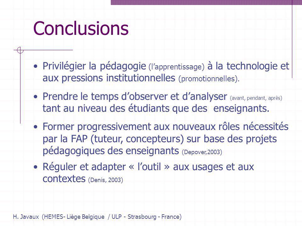 H. Javaux (HEMES- Liège Belgique / ULP - Strasbourg - France) Conclusions Privilégier la pédagogie (lapprentissage) à la technologie et aux pressions