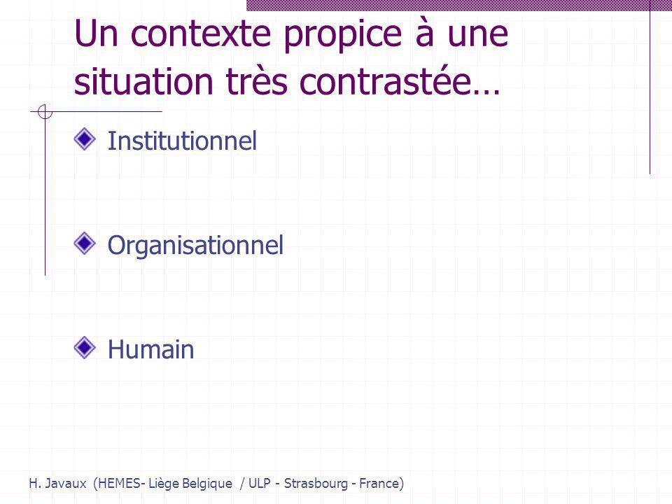 H. Javaux (HEMES- Liège Belgique / ULP - Strasbourg - France) Un contexte propice à une situation très contrastée… Institutionnel Organisationnel Huma