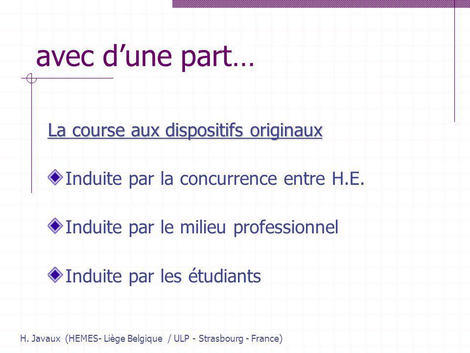 H. Javaux (HEMES- Liège Belgique / ULP - Strasbourg - France) avec dune part… La course aux dispositifs originaux Induite par la concurrence entre H.E