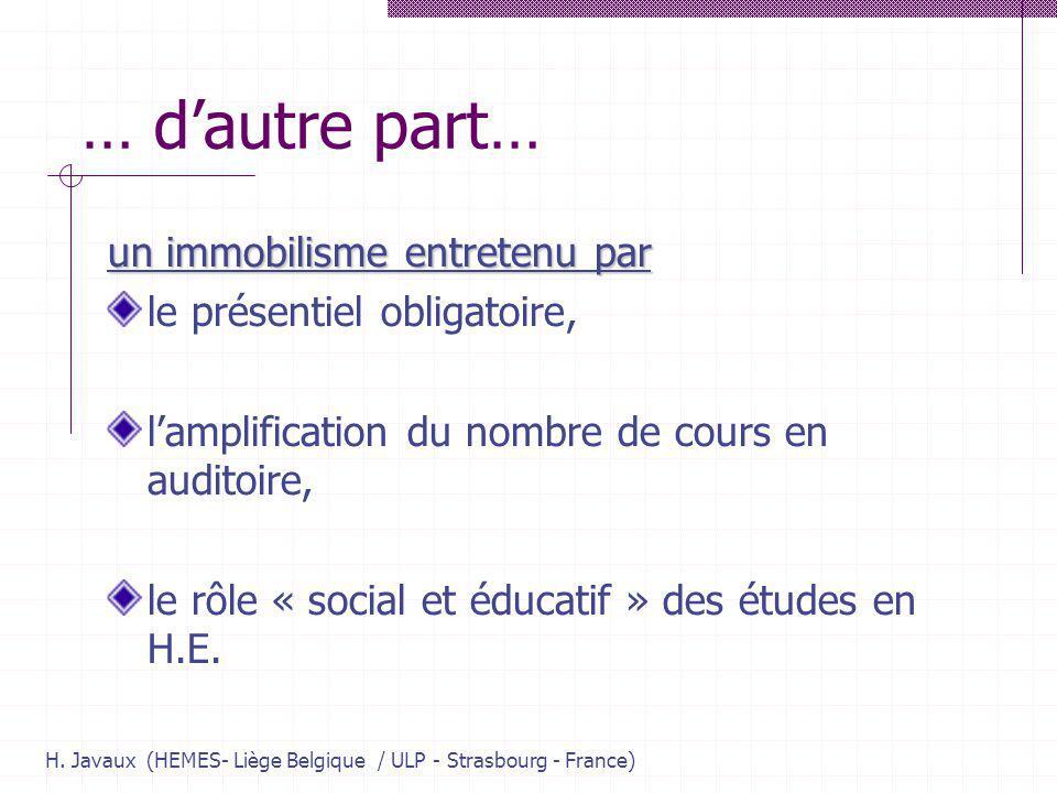 H. Javaux (HEMES- Liège Belgique / ULP - Strasbourg - France) … dautre part… un immobilisme entretenu par le présentiel obligatoire, lamplification du