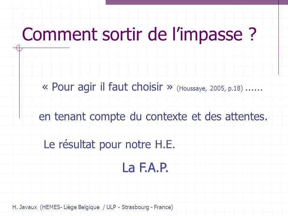 H. Javaux (HEMES- Liège Belgique / ULP - Strasbourg - France) Comment sortir de limpasse ? « Pour agir il faut choisir » (Houssaye, 2005, p.18) …… en
