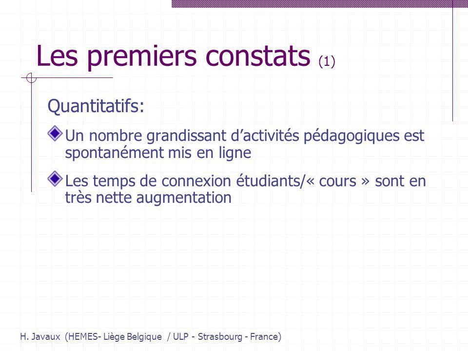 H. Javaux (HEMES- Liège Belgique / ULP - Strasbourg - France) Les premiers constats (1) Quantitatifs: Un nombre grandissant dactivités pédagogiques es