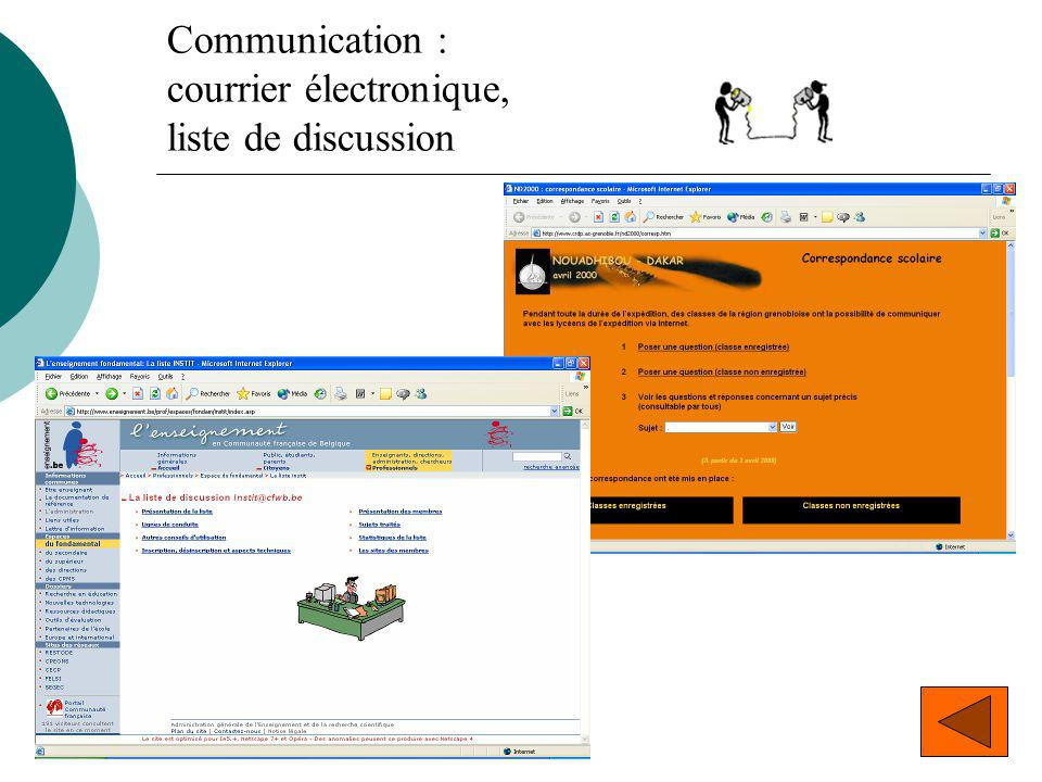 Communication : courrier électronique, liste de discussion