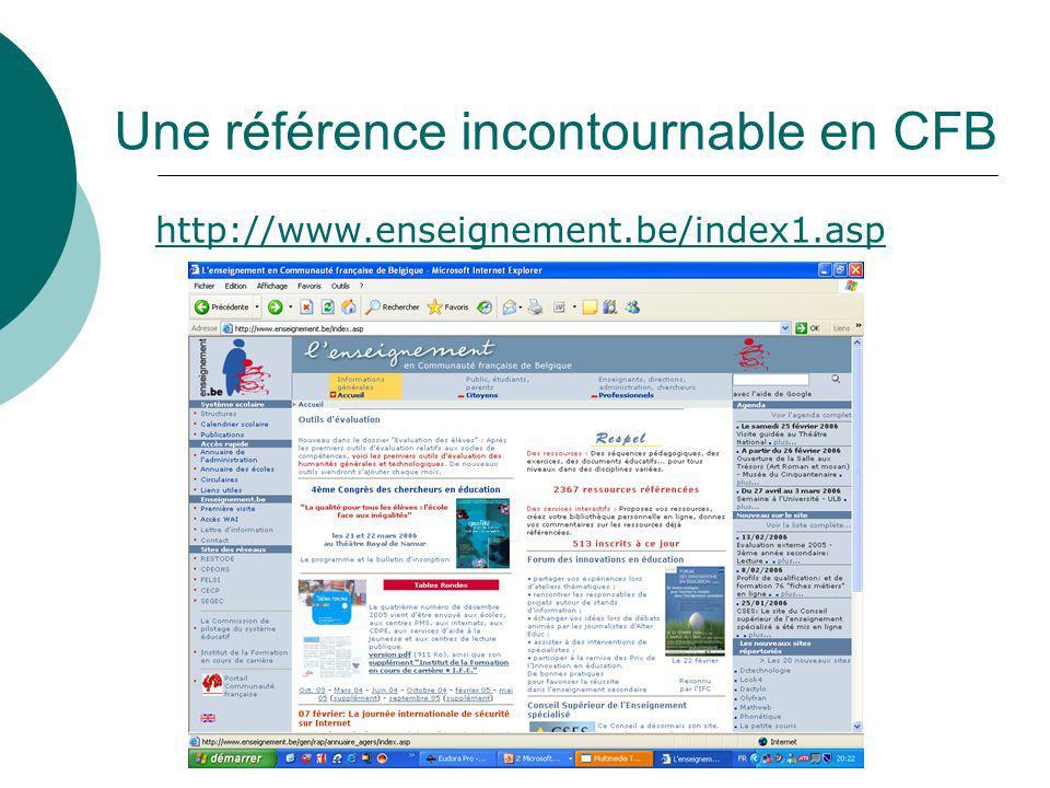 Une référence incontournable en CFB http://www.enseignement.be/index1.asp