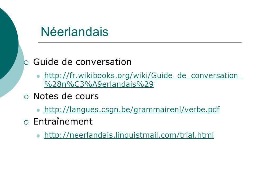 Néerlandais Guide de conversation http://fr.wikibooks.org/wiki/Guide_de_conversation_ %28n%C3%A9erlandais%29 http://fr.wikibooks.org/wiki/Guide_de_con