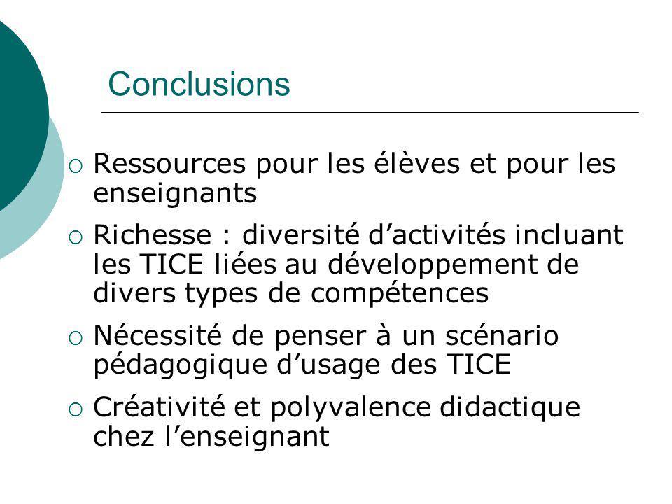 Conclusions Ressources pour les élèves et pour les enseignants Richesse : diversité dactivités incluant les TICE liées au développement de divers type