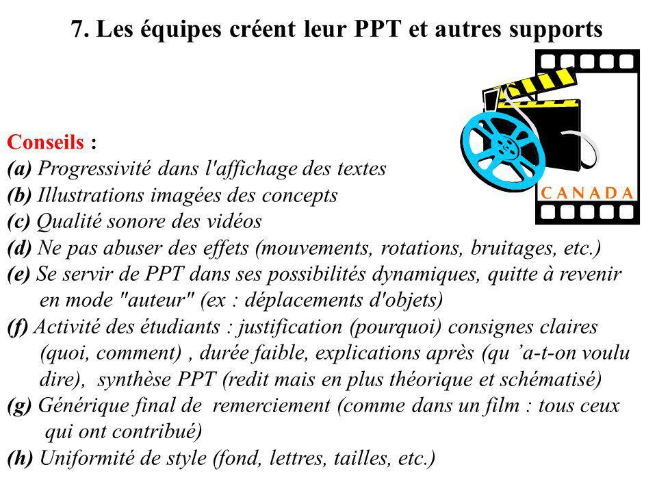 7. Les équipes créent leur PPT et autres supports Conseils : (a) Progressivité dans l'affichage des textes (b) Illustrations imagées des concepts (c)