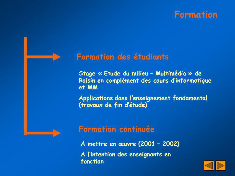 Formation Formation des étudiants Formation continuée Stage « Etude du milieu – Multimédia » de Roisin en complément des cours dinformatique et MM App