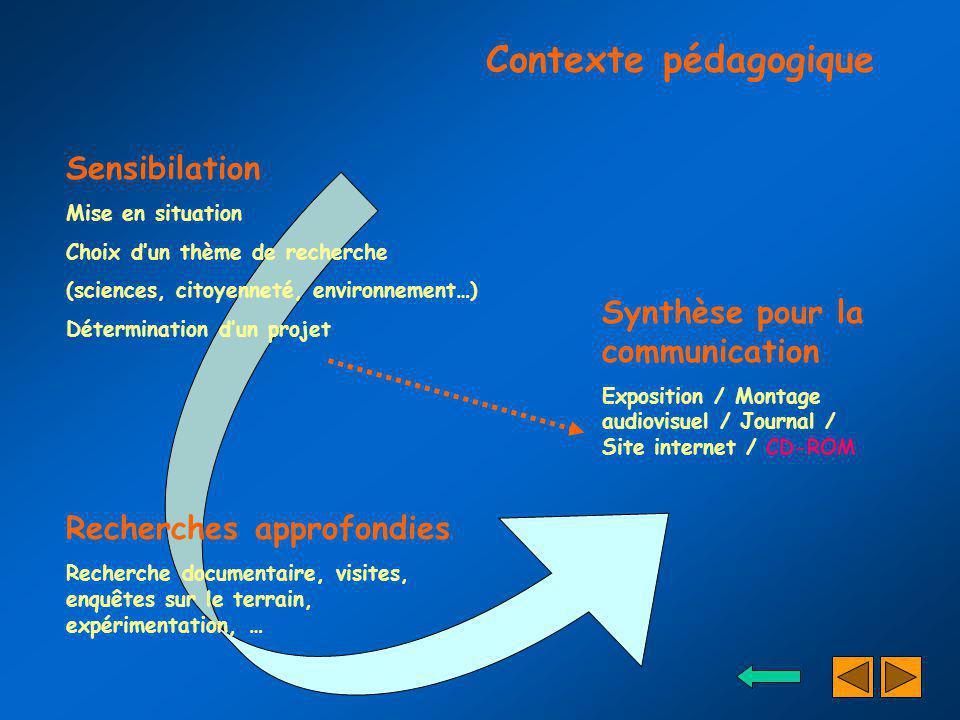 Synthèse pour la communication Exposition / Montage audiovisuel / Journal / Site internet / CD-ROM Sensibilation Mise en situation Choix dun thème de