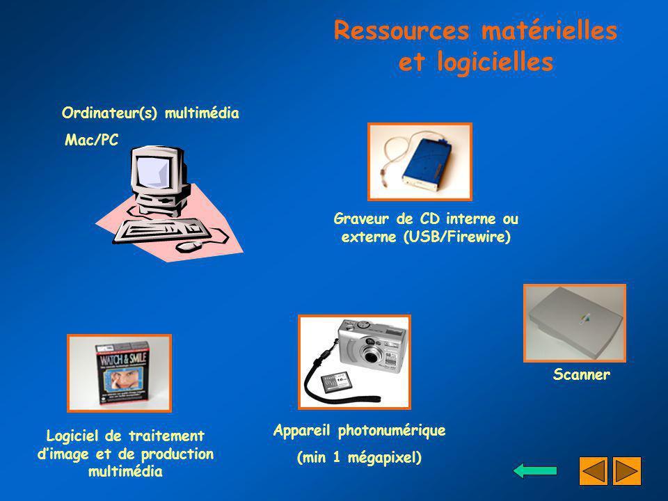 Ordinateur(s) multimédia Mac/PC Logiciel de traitement dimage et de production multimédia Appareil photonumérique (min 1 mégapixel) Graveur de CD inte