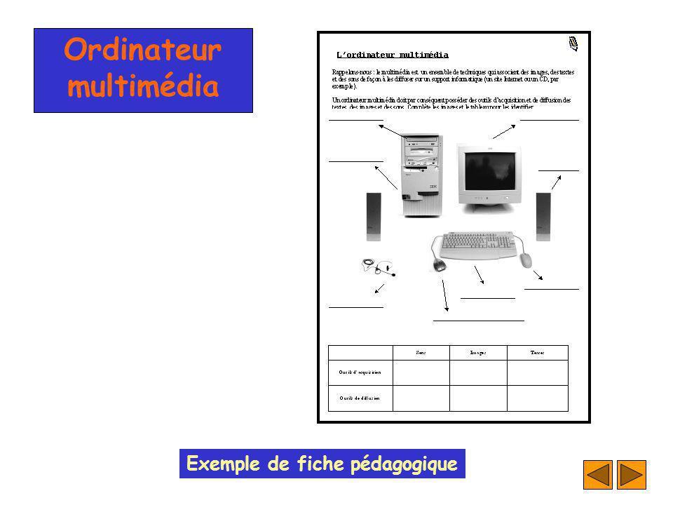 Ordinateur multimédia Exemple de fiche pédagogique