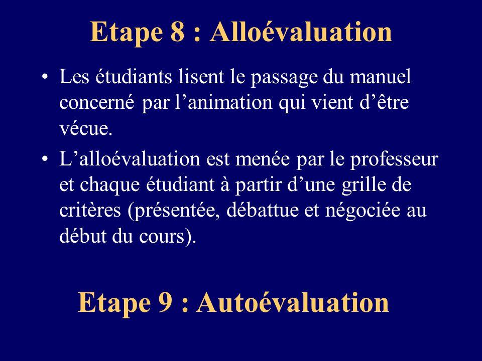 Etape 8 : Alloévaluation Les étudiants lisent le passage du manuel concerné par lanimation qui vient dêtre vécue. Lalloévaluation est menée par le pro