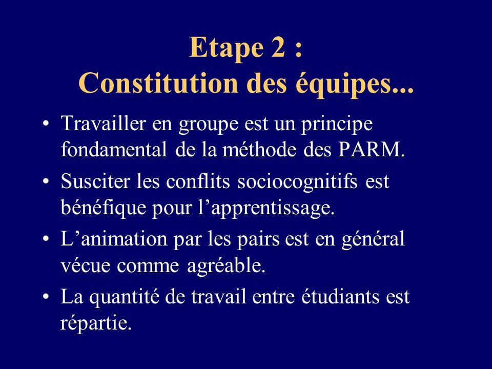 Etape 2 : Constitution des équipes... Travailler en groupe est un principe fondamental de la méthode des PARM. Susciter les conflits sociocognitifs es