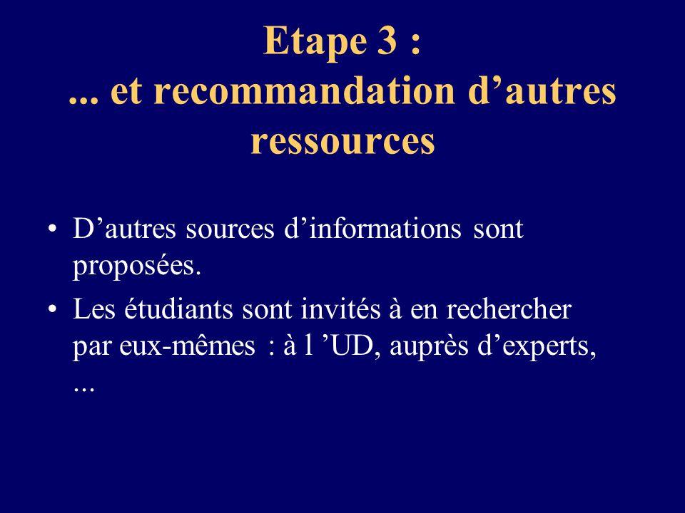 Etape 3 :... et recommandation dautres ressources Dautres sources dinformations sont proposées. Les étudiants sont invités à en rechercher par eux-mêm