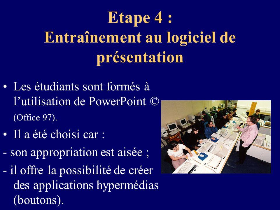 Etape 4 : Entraînement au logiciel de présentation Les étudiants sont formés à lutilisation de PowerPoint © (Office 97). Il a été choisi car : - son a