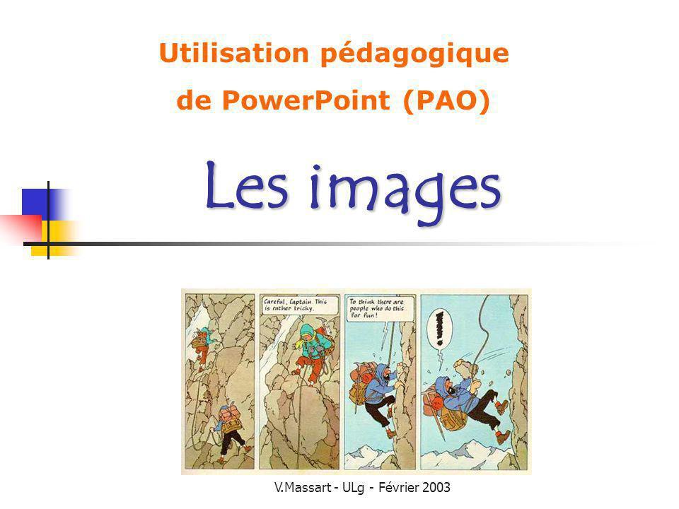 V.Massart - ULg - Février 2003 La qualité technique des images La qualité de limage affecte la compréhension SI les images sont ambigües (plusieurs interprétations) Les images de mauvaise qualité affecte la motivation (même si on les comprend) Compensation : rendre les élèves actifs