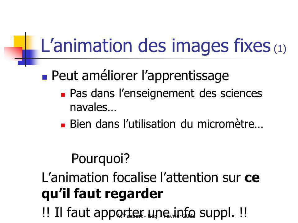 V.Massart - ULg - Février 2003 Lanimation des images fixes (1) Peut améliorer lapprentissage Pas dans lenseignement des sciences navales… Bien dans lu