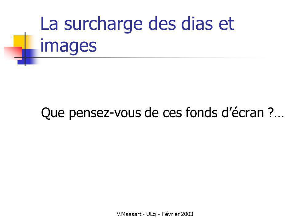 V.Massart - ULg - Février 2003 La surcharge des dias et images Que pensez-vous de ces fonds décran ?…