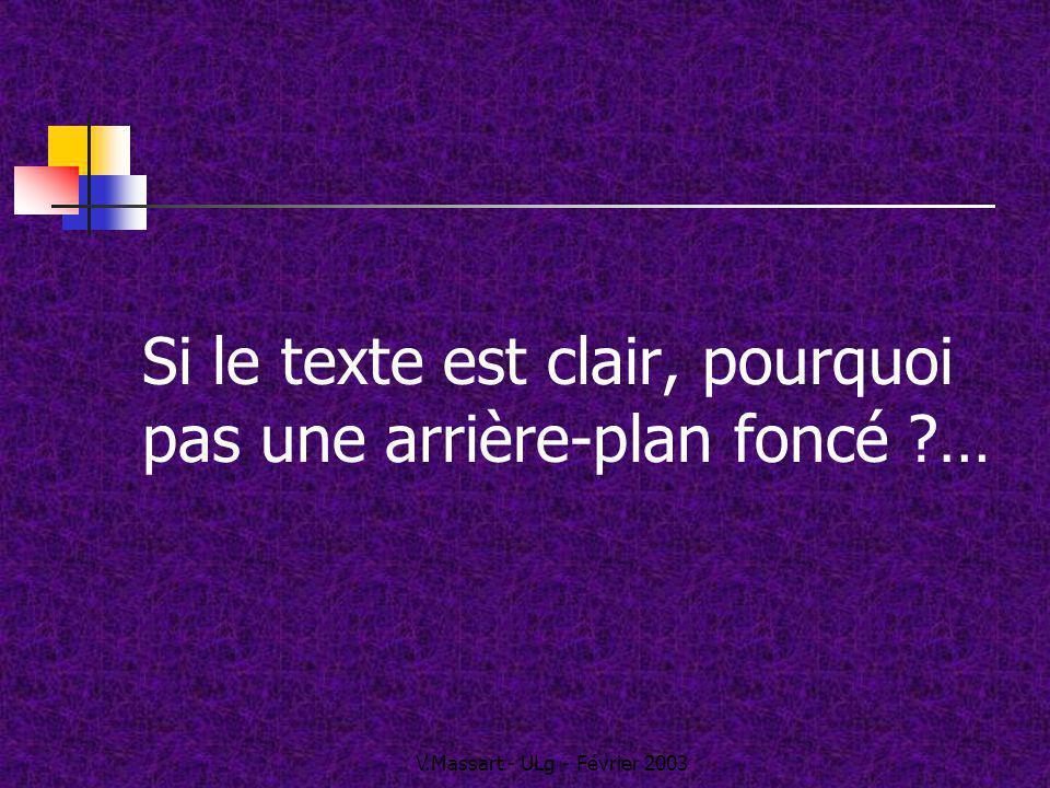 V.Massart - ULg - Février 2003 Si le texte est clair, pourquoi pas une arrière-plan foncé ?…