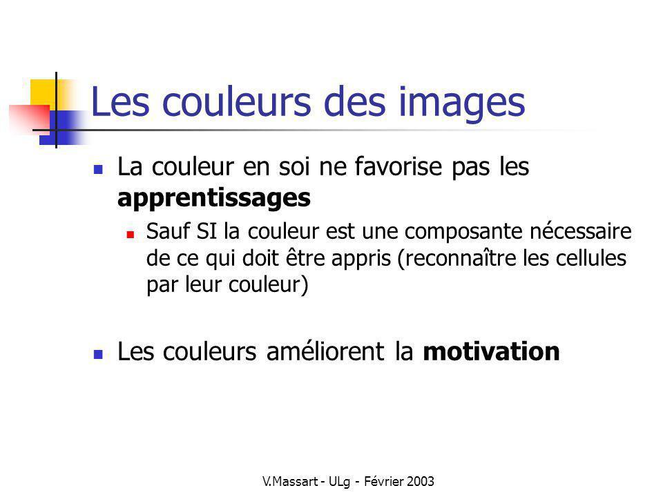 V.Massart - ULg - Février 2003 Les couleurs des images La couleur en soi ne favorise pas les apprentissages Sauf SI la couleur est une composante néce