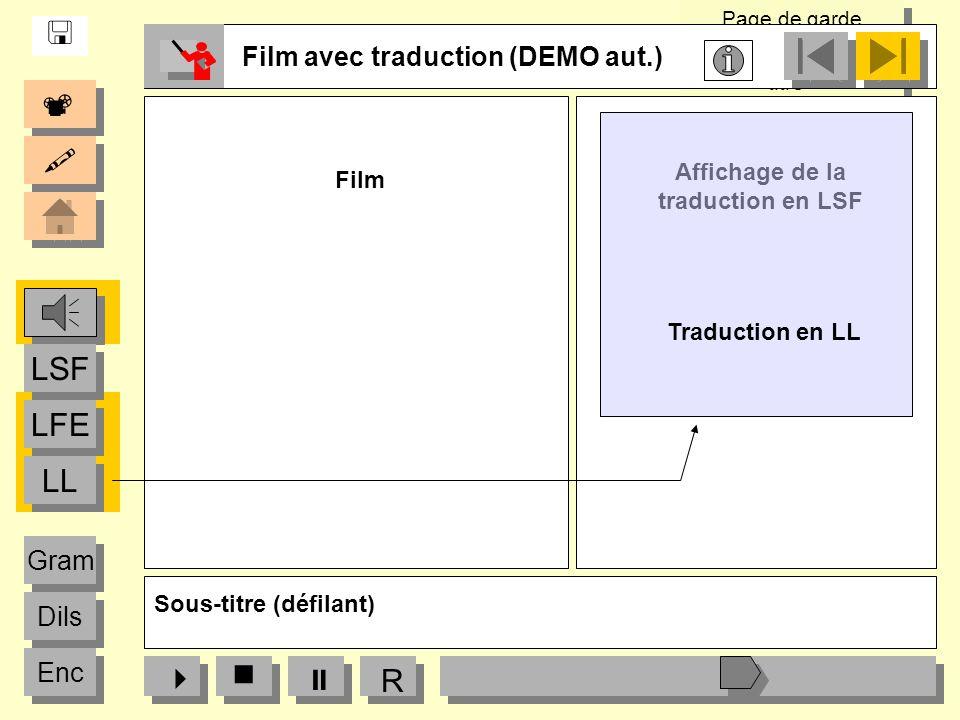 Page de garde « Logos partenaires, titre» Page de garde « Logos partenaires, titre» R Film avec traduction (DEMO aut.) LFE LSF LL Dils Gram Enc Affich