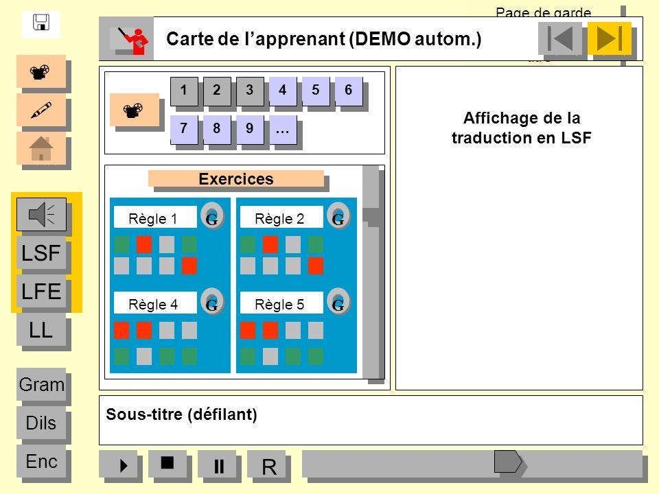 Page de garde « Logos partenaires, titre» Page de garde « Logos partenaires, titre» Sous-titre (défilant) R Carte de lapprenant (DEMO autom.) LFE LSF