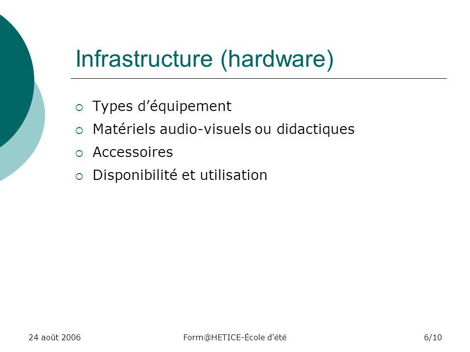 24 août 2006Form@HETICE-École d été6/10 Infrastructure (hardware) Types déquipement Matériels audio-visuels ou didactiques Accessoires Disponibilité et utilisation
